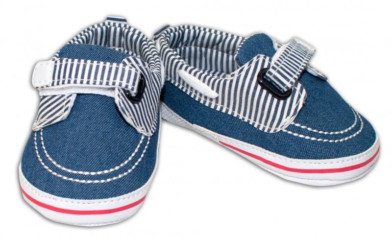 YO ! Kojenecké boty/capáčky námořnické - jeans s proužky