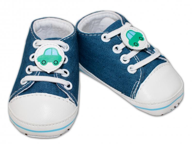 YO ! Kojenecké boty/capáčky s autíčkem - jeans