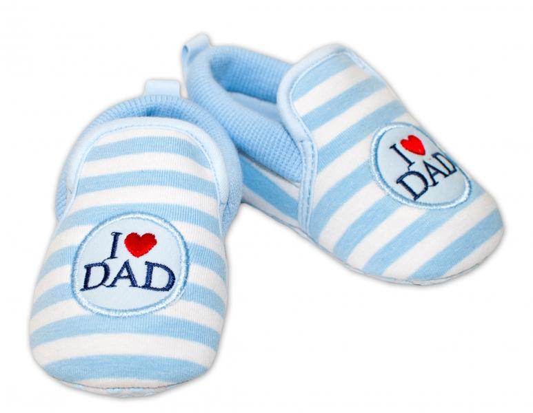 YO ! Kojenecké boty/capáčky I love Dad - modré, 6-12 měsíců