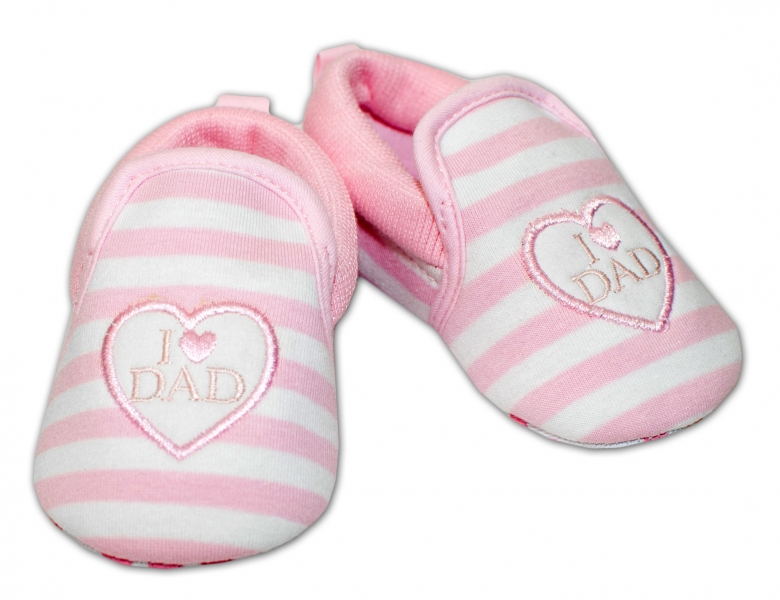 YO ! Kojenecké boty/capáčky I love Dad - růžové