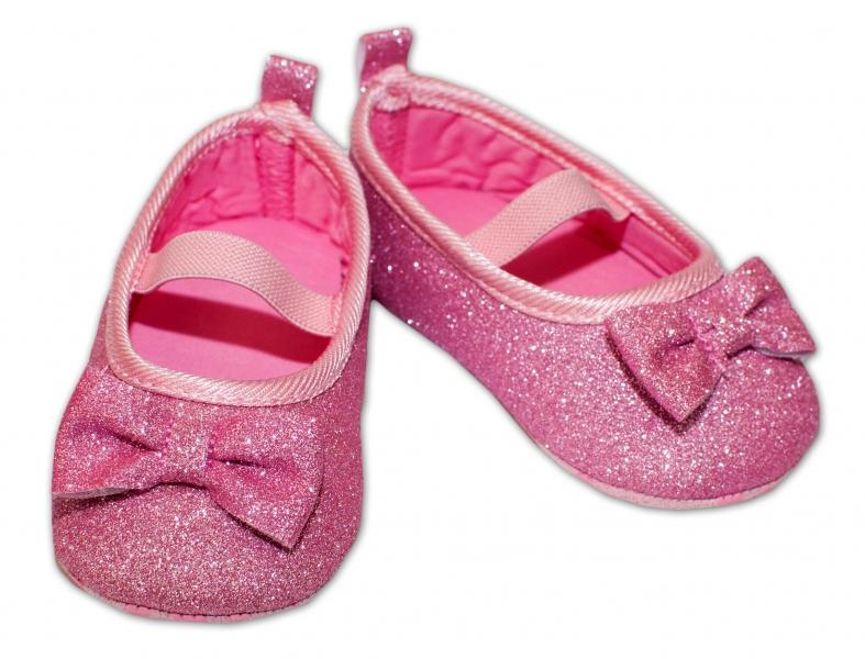 YO ! Kojenecké boty/capáčky brokátové s mašličkou - růžové