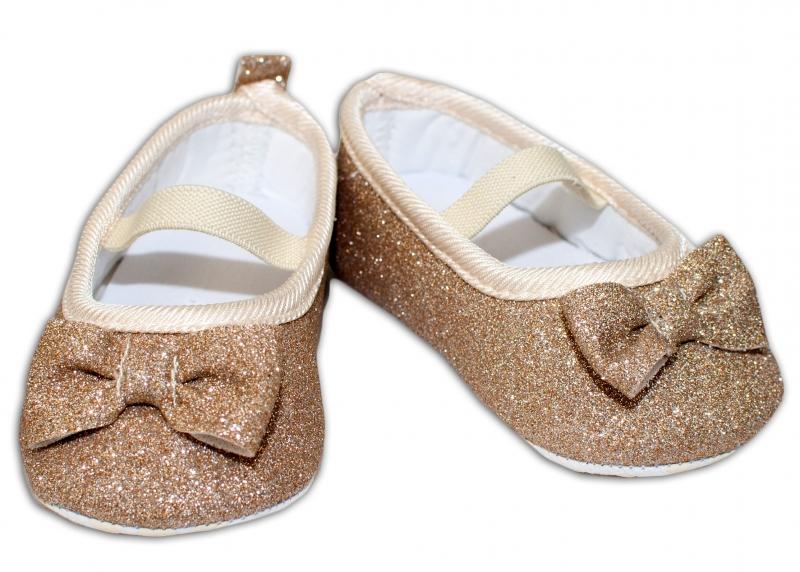 YO ! Kojenecké boty/capáčky brokátové s mašličkou - zlaté, 6-12 měsíců