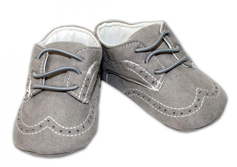 YO ! Kojenecké boty/capáčky prošívané - šedé