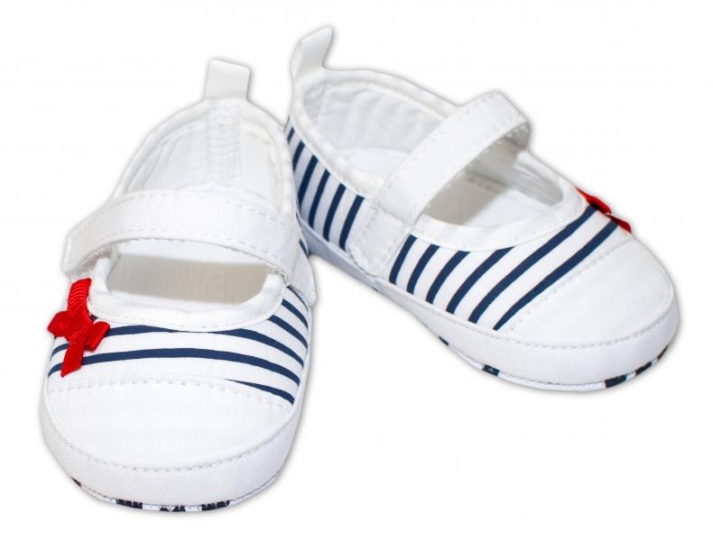 YO ! Kojenecké boty/capáčky granátový proužek - bílé