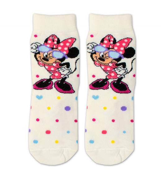 Bavlněné ponožky Disney Minnie s brýlemi  - smetanové, vel. 27/30