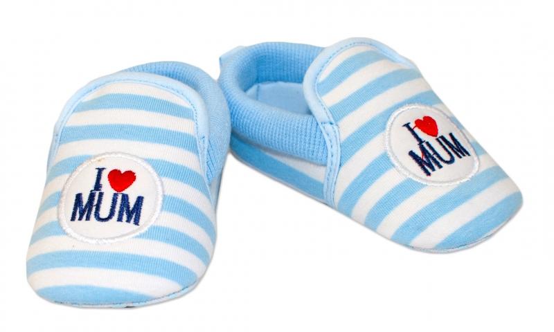 YO ! Kojenecké boty/capáčky I love Mum - modré, 6-12 měsíců