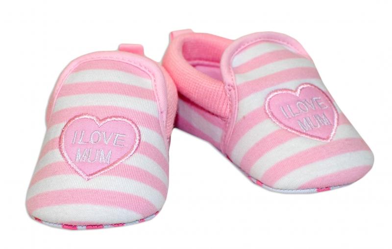 YO ! Kojenecké boty/capáčky I love Mum - růžové