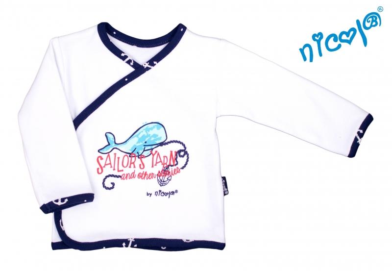 Novorozenecká bavlněná košilka Nicol, Sailor - zapínání bokem
