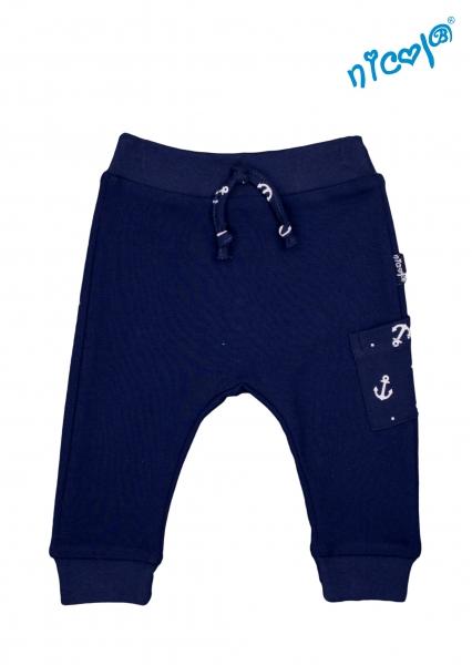 Kojenecké bavlněné tepláky Nicol, Sailor - tm. modré, vel. 56, Velikost: 56 (1-2m)