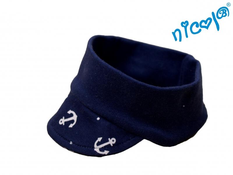 Kojenecká čelenka s kšiltem Nicol Sailor - tm. modrá, Velikost: 56/62