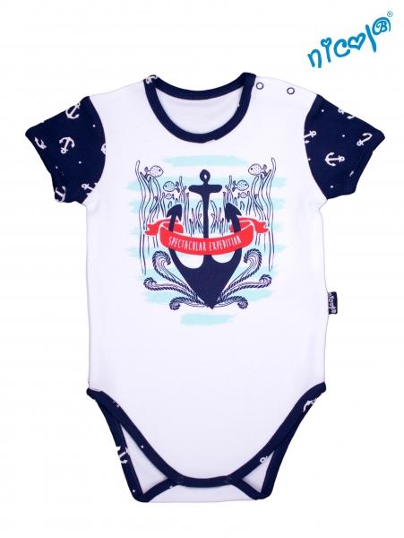 Detské body Nicol - krátký rukáv, Sailor - bílé, vel. 98