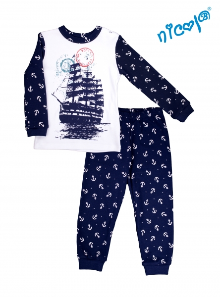 Kojenecké pyžamo Nicol, Sailor - bílé/tm. modré