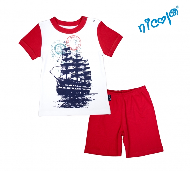 Kojenecké pyžamo krátké Nicol, Sailor - bílé/červené, Velikost: 86 (12-18m)