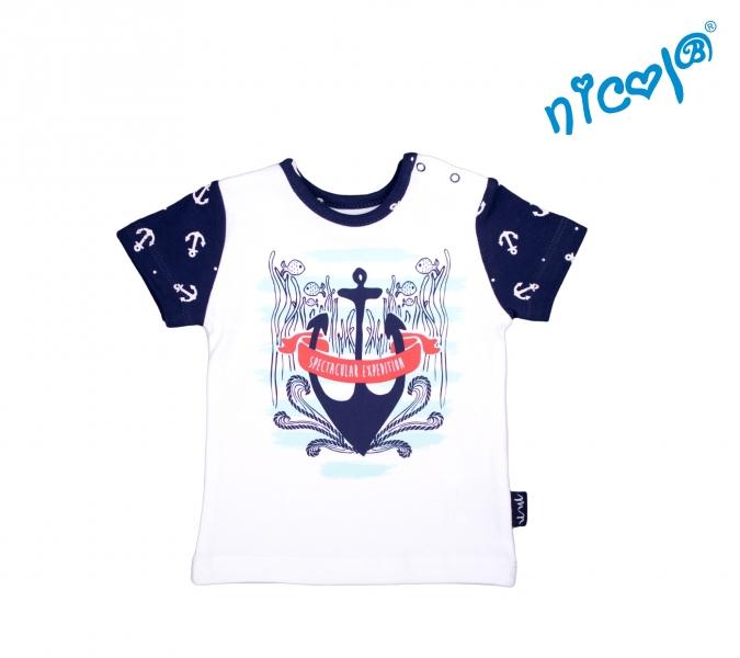 Kojenecké bavlněné tričko Nicol, Sailor - krátký rukáv, bílé, Velikost: 56 (1-2m)