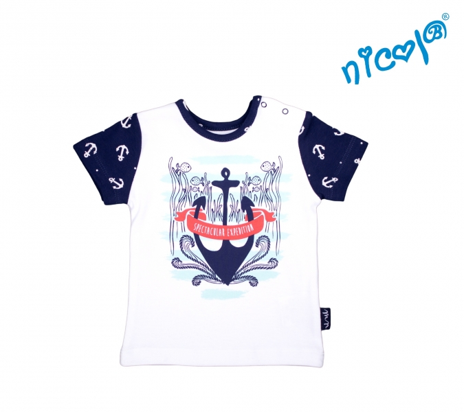 Kojenecké bavlněné tričko Nicol, Sailor - krátký rukáv, bílé, vel. 74