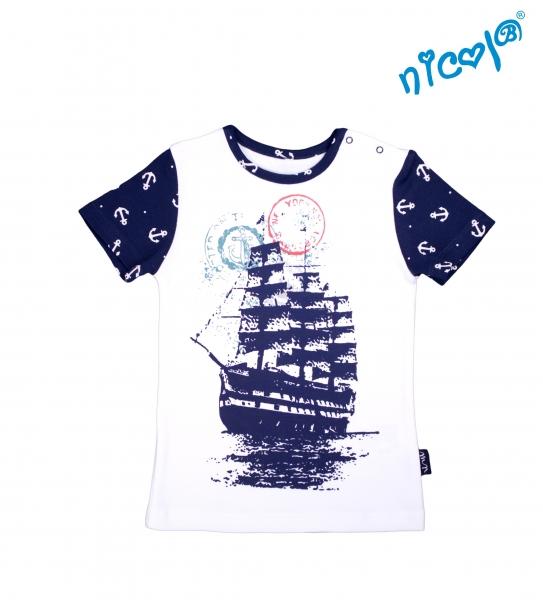 Kojenecké bavlněné tričko Nicol, Sailor - krátký rukáv , bílé