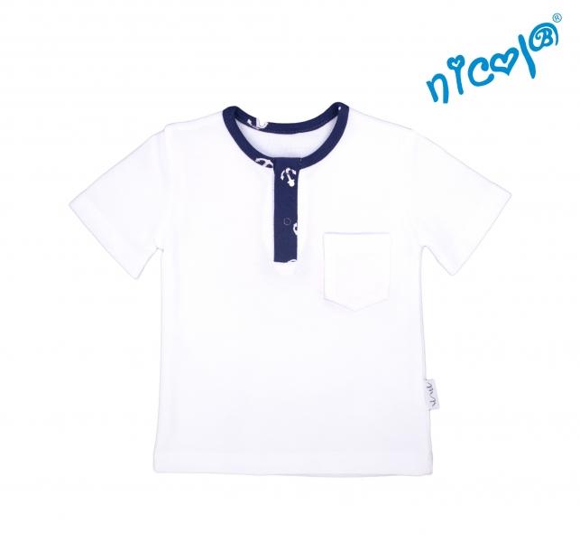 Kojenecké bavlněné tričko krátký rukáv Nicol, Sailor - bílé, Velikost: 56 (1-2m)