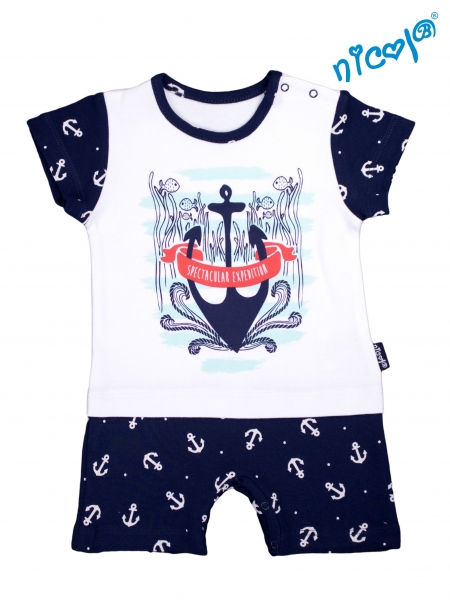 Kojenecké body s nohavičkami Nicol - krátký rukáv, Sailor - bílé/tm. modré, Velikost: 52