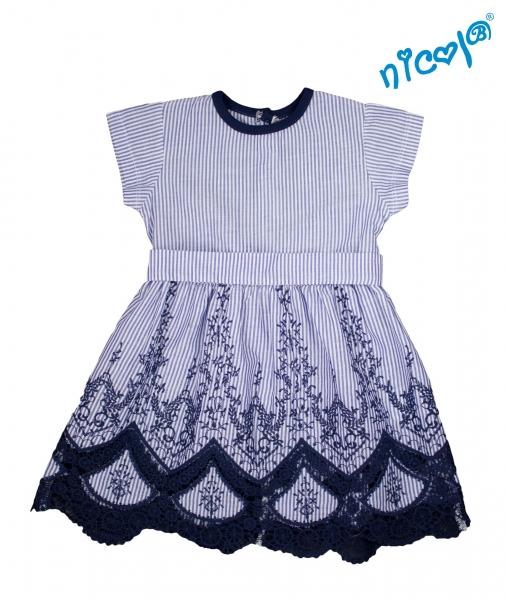 Dětské šaty Nicol, Sailor - granátové/proužky, vel. 128, Velikost: 128