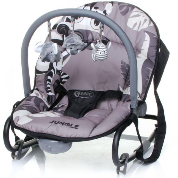 4 BABY Lehátko Jungle - šedé