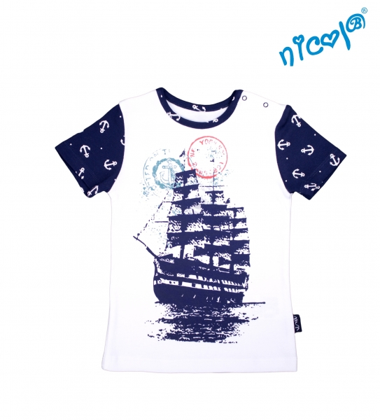 Dětské bavlněné tričko Nicol, Sailor - krátký rukáv, bílé, vel. 116