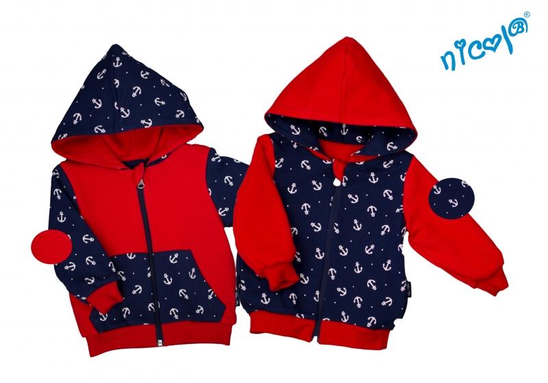 Kojenecká bunda/mikina Nicol oboustranná, Sailor - granát/červená