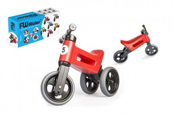 Odrážedlo FUNNY WHEELS Rider Sport červené 2v1, výška sedla 28/30cm nosnost 25kg 18m+