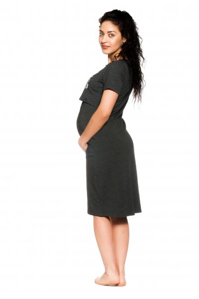 Be MaaMaa Těhotenská, kojící noční košile Gorgeous - grafitová, vel. L/XL