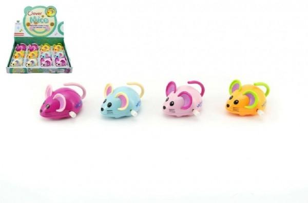 Myš na klíček plast 8cm asst 4 barvy 12ks v boxu
