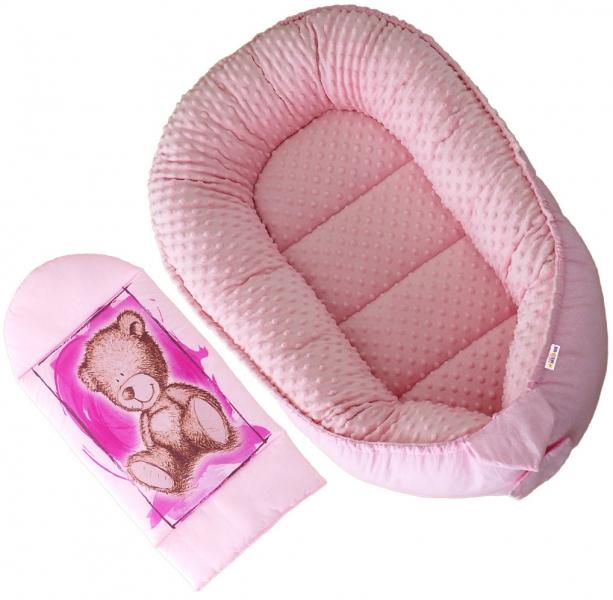 Oboustranné hnízdečko, kokon Baby Nellys Teddy Minky 80x45x15cm - růžové