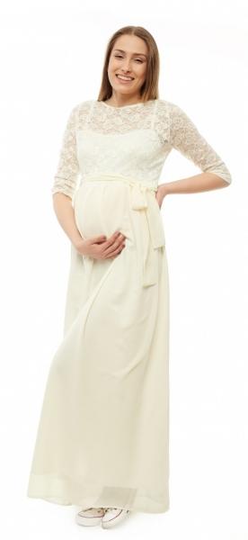 Be MaaMaa Těhotenské, společenské šaty - ecru, vel. XL