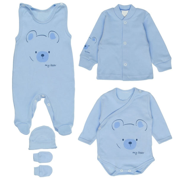MBaby Soupravička do porodnice 5D - My Bear, modrá, vel. 56