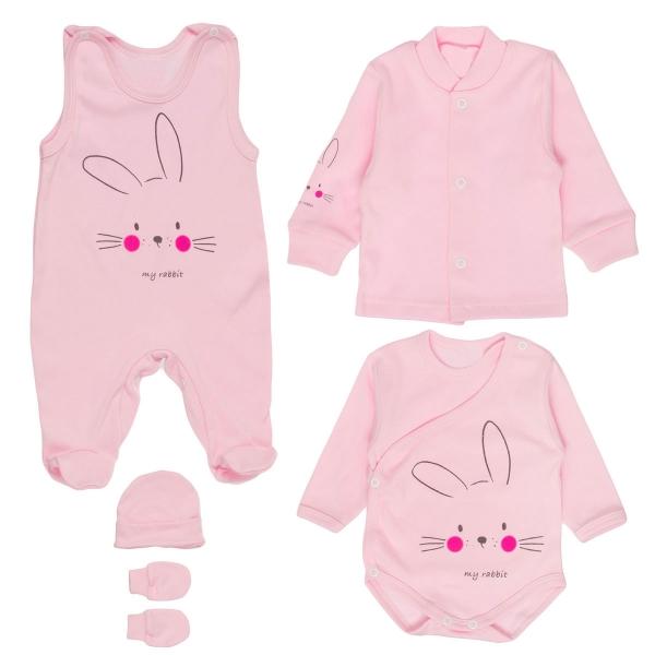 MBaby Soupravička do porodnice 5D - My Rabbit, růžová, vel. 56
