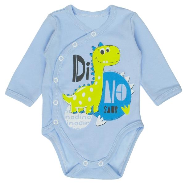 Bavlněné body MBaby s dlouhým rukávem a zapínáním na boku Dino - modré