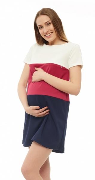 Be MaaMaa Těhotenské, kojící šaty kr. rukáv - granátové, vel. L/XL