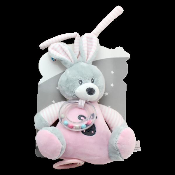 Závěsná plyšová hračka Tulilo s melodií Králíček, 18 cm - růžový