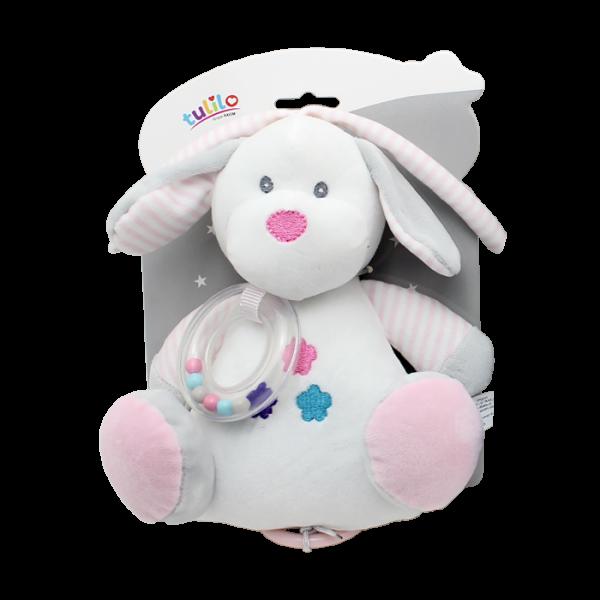 Závěsná plyšová hračka Tulilo s melodií Pejsek, 18 cm - bílý