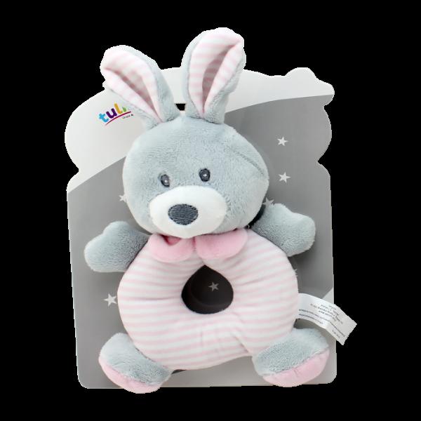 Plyšová hračka Tulilo s chrastítkem Králíček, 17 cm - růžový