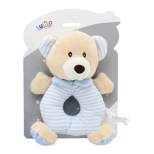 Plyšová hračka Tulilo s chrastítkem Medvídek, 17 cm - modrý