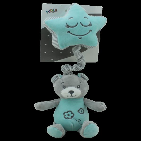 Závěsná plyšová hračka Tulilo s melodií Medvídek, 19 cm - mátový