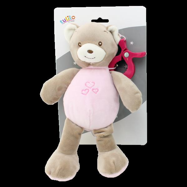 Závěsná plyšová hračka Tulilo s chrastítkem Medvídek, 25 cm - růžový