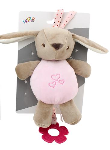 Závěsná plyšová hračka Tulilo s melodií Králíček, 22 cm - růžový