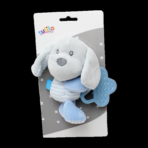 Plyšová hračka Tulilo s kousátkem Pejsek, 16 cm - modrý