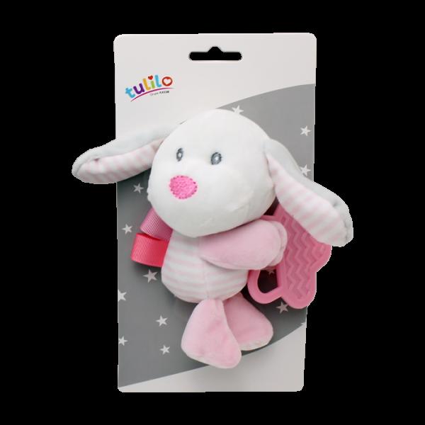 Plyšová hračka Tulilo s kousátkem Pejsek, 16 cm - růžový