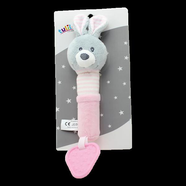Plyšová hračka Tulilo s pískátkem a kousátkem Králíček, 17 cm - růžový