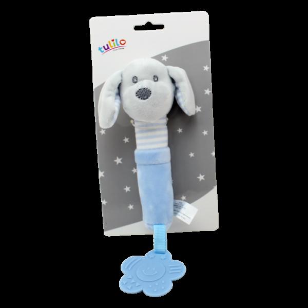 Plyšová hračka Tulilo s pískátkem a kousátkem Pejsek, 17 cm - modrý