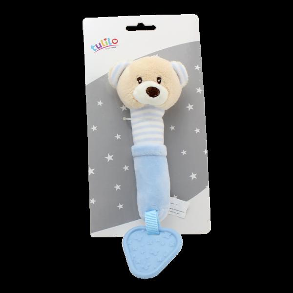 Plyšová hračka Tulilo s pískátkem a kousátkem Medvídek, 17 cm - modrý