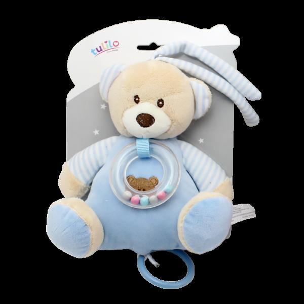 Závěsná plyšová hračka Tulilo s melodií Medvídek, 18 cm - modrý
