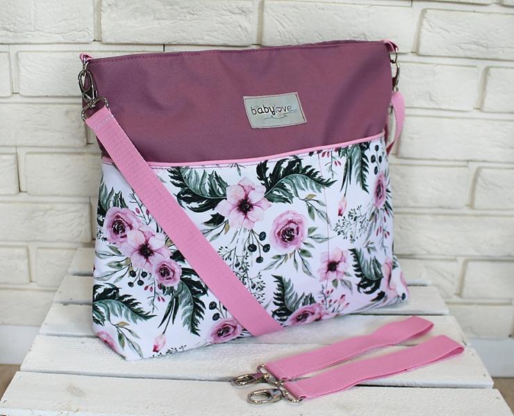 Stylová taška na kočárek Baby Nellys Hand Made - Květinky/flowers - vínová, Ce19