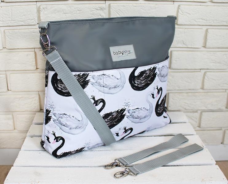 Stylová taška na kočárek Baby Nellys Hand Made - Labutě - šedá, Ce19